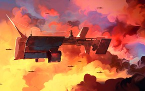 Picture The sky, Clouds, Figure, Ship, The ship, Art, Dominik Mayer, by Dominik Mayer, Lumbering Giant