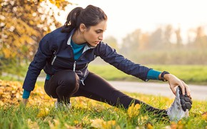 Picture woman, fitness, sneakers, training
