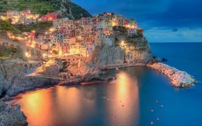 Picture sea, rock, coast, building, home, Bay, Italy, Italy, The Ligurian sea, Manarola, Manarola, Cinque Terre, …