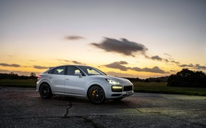 Picture auto, the sky, sunset, lights, Porsche, Turbo, Cayenne