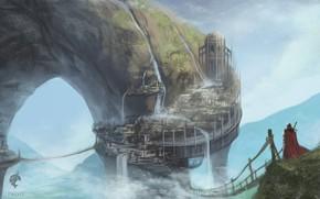 Picture landscape, castle, suspension bridge