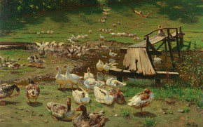 Picture 1905, German painter, German painter, The Dusseldorf school of art, Summer day Geese at the …