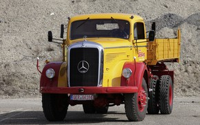 Picture Mercedes-Benz, front view, dump truck, L-series, самосвал с трёхсторонней разгрузкой, LAK 315 Dreiseitenkipper