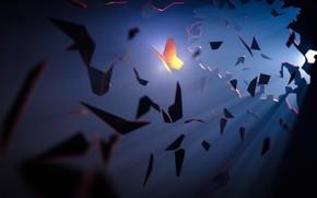 Picture Rico Wöhmann, by Rico Wöhmann, Fantasia, Art, Fantasy, Pieces, Light, Fragments, Art, Butterfly, Fiction