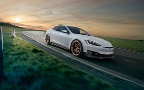 Picture sunset, Tesla, Model S, Novitec, 2017