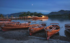 Picture Blue Hour, Boats, Derwent water, English Lake Distict