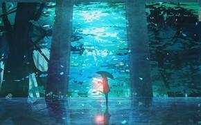 Picture forest, girl, umbrella, lantern
