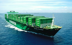 Picture The ocean, Sea, Board, The ship, A container ship, Tank, Evergreen, Evergreen Marine Corporation, M/V …