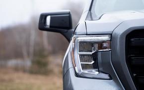 Picture headlight, before, pickup, 2018, GMC, Sierra, Crew Cab, 2019, Elevation