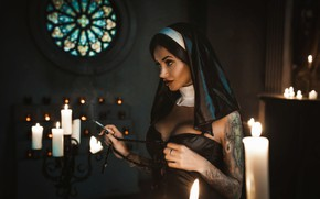 Picture chest, girl, model, candles, tattoo, image, nun, Louis of Navarre, Anna Sakharov
