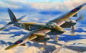 Picture RAF, British multi-purpose bomber, De Havilland, Day and night fighter-bomber, long-range fighter, Mosquito FB Mk …