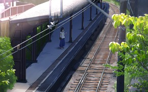 Picture girl, trees, station