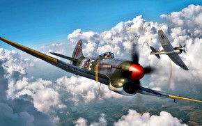 Picture RAF, multi-role fighter, Hawker Tempest Mk.V, during the Second World war, Engine Napier Sabre II, ...