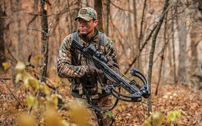 Picture forest, weapons, warrior, male, form, camouflage, Il, crossbow, crossbow, hunter archery, Crossover movement