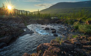 Picture the sun, rays, landscape, mountains, nature, stream, stones, forest, plateau, Siberia, Vladimir Ryabkov, The Putorana, …