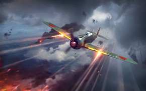 Picture smoke, explosions, the plane, shots, in the sky, War Thunder, Warplane