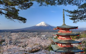 Picture landscape, tower, Japan