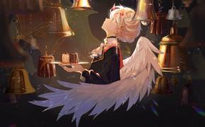 Picture girl, wings, angel, the demon, bells, dessert, horns