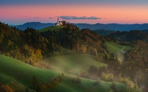 Picture landscape, mountains, nature, hills, Church, forest, meadows, Slovenia, Materov.