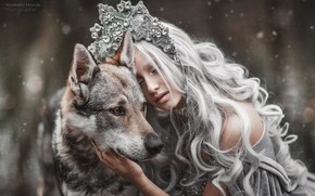 Picture girl, style, mood, dog, long hair, Princess, Marketa Novak, Tamara Vaňousová
