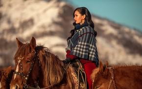 Picture girl, horses, horse, Annie Of Antikov