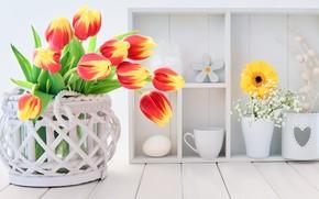 Picture flowers, bouquet, tulips, basket, decor, Anya Ivanova
