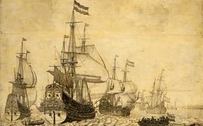 Picture figure, ink, 1670, Willem van de Velde I, Виллем ван де Велде Старший, Морской пейзаж …