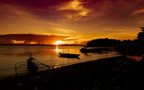 Picture sea, sunset, boats, silhouettes