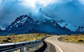 Picture road, sky, landscape, nature, sunset, Argentina, mountains, clouds, bokeh, Patagonia, shrubs, snowy peak, peak