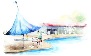 Picture summer, umbrella, mood, stay, romance, figure, pool, art, watercolor, table, summer cafe