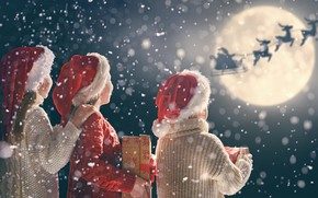 Picture snow, children, holiday, new year, Christmas, gifts, deer