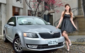 Picture auto, look, Girls, Asian, beautiful girl, posing on the car, Skoda Octavia