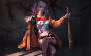 Picture look, pose, art, DC Comics, Harley Quinn, Suicide Squad