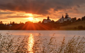 Picture grass, the sun, rays, landscape, sunset, clouds, nature, river, the evening, the monastery, Bank, Maxim …