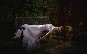 Picture girl, sleeping, bench
