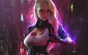 Picture girl, fiction, hand, art, cyborg, sci-fi, cyberpunk