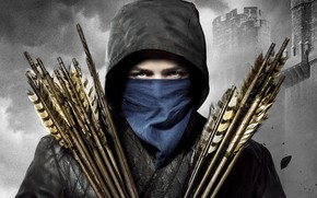 Wallpaper look, background, jacket, hood, fortress, arrows, adventure, poster, shawl, Robin Hood, black-and-white background, Taron Egerton, ...