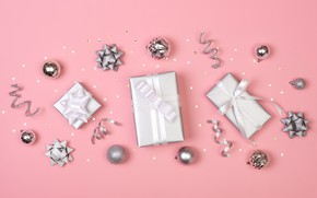 Picture background, pink, toys, Christmas