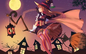 Wallpaper night, lantern, broom, bats, Raven, the full moon, art, witch, striped stockings, witch hat, witch, ...
