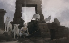 Picture bow, wolves, ruins, albino