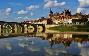 Picture bridge, reflection, river, castle, France, building, home, France, Loire River, The Loire River, Жьен, Anne …