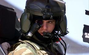 Picture AH-64, cabin, helmet, Apache, pilot, monocle, helicopter