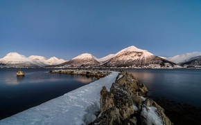 Picture snow, mountains, Norway, Troms, Balsfjord