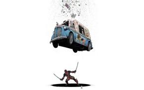 Picture Machine, Costume, Comic, Car, Swords, Deadpool, Marvel, Deadpool, Marvel Comics, Comics, Van, Wade Wilson, Ice …