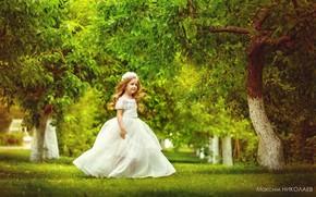 Picture spring, garden, dress, girl, Maxim Nikolaev