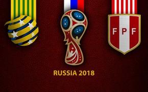 Picture wallpaper, sport, logo, football, FIFA World Cup, Russia 2018, Australia vs Peru