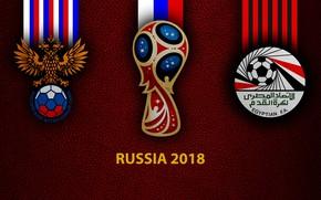 Picture wallpaper, sport, logo, football, FIFA World Cup, Russia 2018, Russia vs Egypt