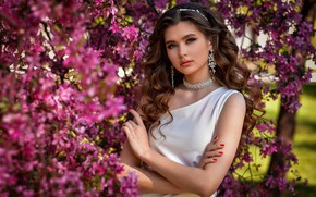 Picture girl, decoration, trees, nature, earrings, makeup, dress, brown hair, flowering, necklace, curls, manicure, Anastasia Donskaya
