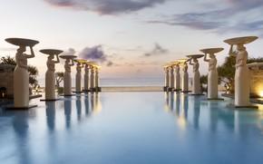 Picture sea, pool, Bali, Indonesia, the hotel, statues, Mulia Resort