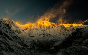 Picture mountains, Annapurna, Sunset